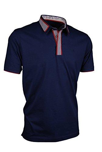 Premium-Poloshirt von Giorgio Capone, einzigartiger Hemdkragen, Jersey-Stoff 100% Baumwolle, navy-blau, Regular Fit (XL)