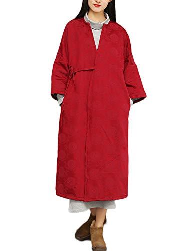 cappotto donna jacquard LZJN Cappotto da donna autunno inverno cotone lino jacquard imbottito giacca trapuntata fasciatura lunga parka Rosso vinaccia Etichettalia unica