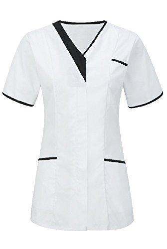 Túnica asimétrica con ribetes de contraste para mujeres, para odontólogas, veterinarias, hospitales, salones de belleza, INS33WH-BL Blanco White With Black Trim 40