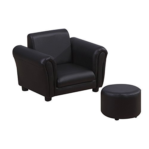 HOMCOM Single Seater Kids Sofa Set Children Couch Seating Game Chair Seat Armchair w/Free Footstool (Black)