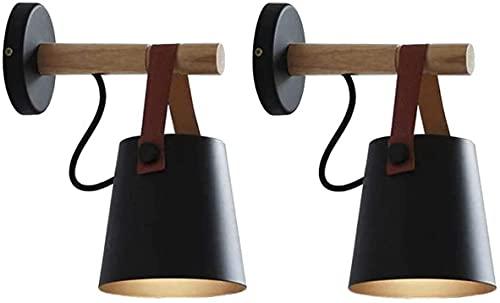 FXBFAG Paquete de 2 lámparas de pared de estilo nórdico, con mando a distancia, funciona con pilas, para interiores, inalámbricas, color negro