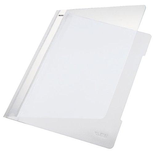 Leitz 41910001 Standard Hefter (A4, langes Beschriftungsfeld, PVC) weiß