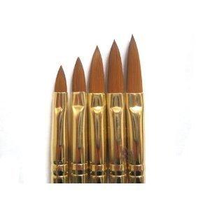 5 pennelli per nail art con acrilico, gel UV, polvere, liquido, fai da te, misure 2 4 6 8 10
