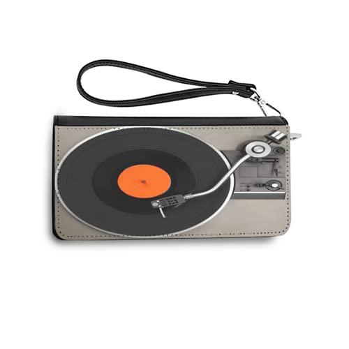 Portefeuilles pour Femmes,Tourne-Disque rétro avec Disque Vinyle,Porte-Cartes de crédit en Cuir véritable avec capacité de Blocage RFID Porte-Monnaie avec Bracelet