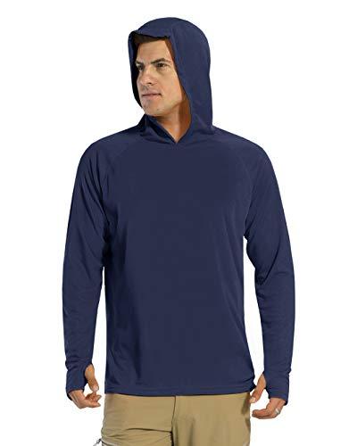 KEFITEVD Camiseta de manga larga para hombre, protección solar UPF 50+, con capucha, agujero para el pulgar, de secado rápido, camiseta funcional para pesca, senderismo azul oscuro M