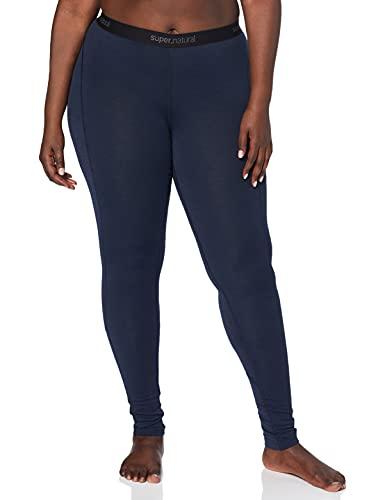 Super.natural Legging Long Femme, Laine mérinos, W BASE TIGHT 175, Taille : L, Couleur : Bleu foncé