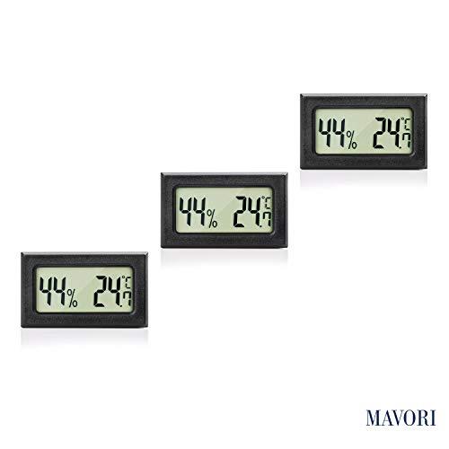MAVORI® Digital Mini Innen Thermometer Hygrometer - Zimmerthermometer und Luftfeuchtigkeitsmessgerät für Wohn- und Büroräume, Keller, Terrarium, Auto - NEUES MODELL (3er Set)
