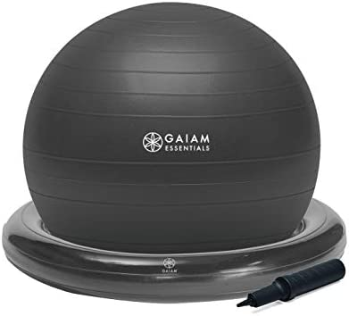 Gaiam Essentials Balance Ball Base Kit 65cm Yoga Ball Chair Exercise Ball with Inflatable Ring product image