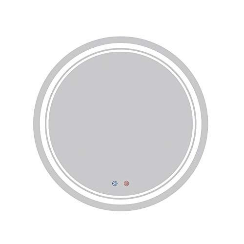 AYYEBO 600X600mm Redondo Iluminado LED Espejo de Baño Retroiluminado Espejos Maquillaje de Pared IP44 Prueba Agua con Sensor Blanca Touch Control Demister