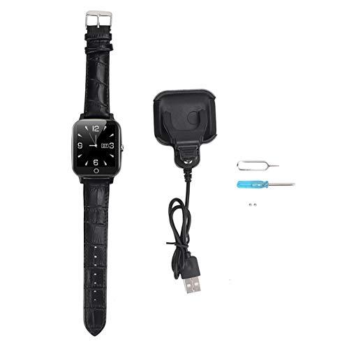 SALUTUYA Ritmo cardíaco Mayor Impermeable del Control del Reloj de la ubicación de la Prenda Impermeable IP65 del teléfono Elegante del GPS, para los Ancianos(Black)