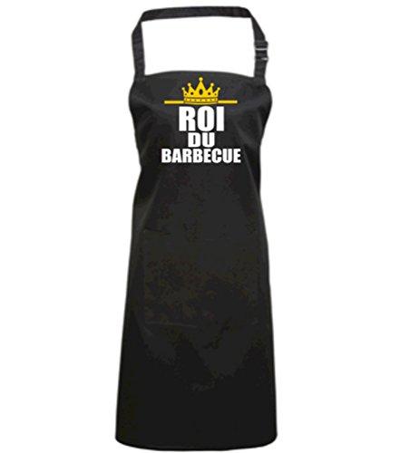Edward Sinclair Tablier Roi du Barbecue Tablier Noir avec Motif Couleur Blanc et Or