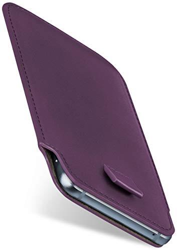 moex Slide Hülle für CAT S60 - Hülle zum Reinstecken, Etui Handytasche mit Ausziehhilfe, dünne Handyhülle aus edlem PU Leder - Lila