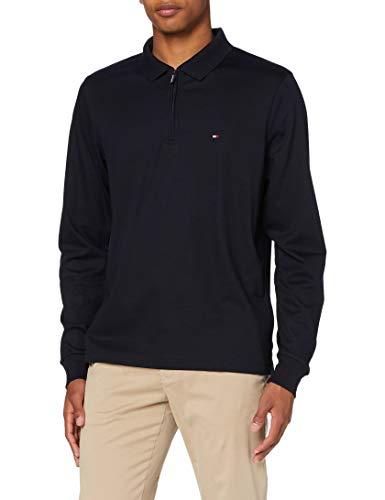 Tommy Hilfiger Zip Interlock Slim LS Polo Camicia, Desert Sky, M Uomo