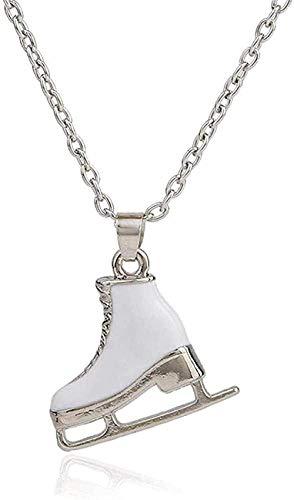 BEISUOSIBYW Co.,Ltd Collar Regalos Esmalte Blanco Patines de Hielo Zapatos Colgante Largo Hombre Mujeres niñas Gargantilla Collar cumpleaños Festival Fecha Regalo