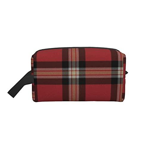 Bolsa de maquillaje para cosméticos de moda, bolsa de viaje a cuadros con acento de tartán para sofá, bolsa de aseo grande, organizador de maquillaje para mujeres