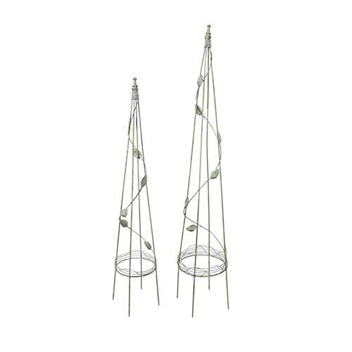 Obelisco de jardín Soporte de flores enrejado de metal para enredaderas de rosas, plantas trepadoras, flores, verduras, pepino, decoración de jardín de césped para patio al aire libre, paquete de 2