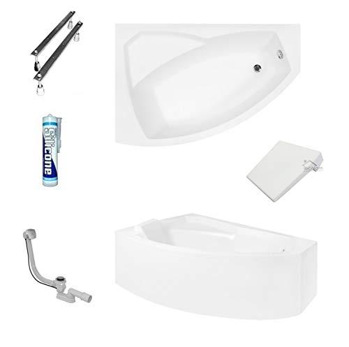 ECOLAM Badewanne Eckbadewanne Acryl Rima weiß 160x100 cm LINKS + Kopfstütze + Schürze Ablaufgarnitur Ab- und Überlauf Automatik Füße Silikon Komplett-Set