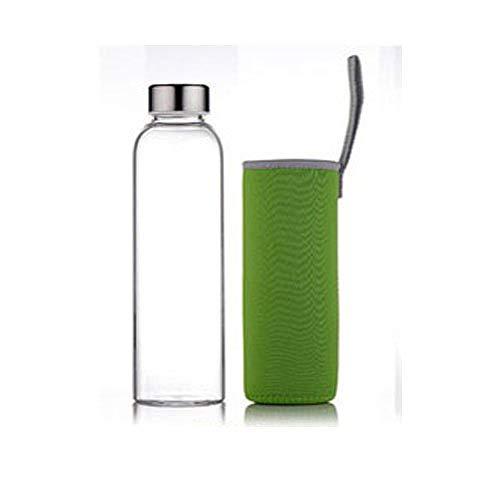 XHXMA Bouteille d'eau en Verre Transparente, Bouteille d'eau pour étudiants, thé résistant à la Chaleur créatif avec Filtre Couvert, Bouilloire, Vert