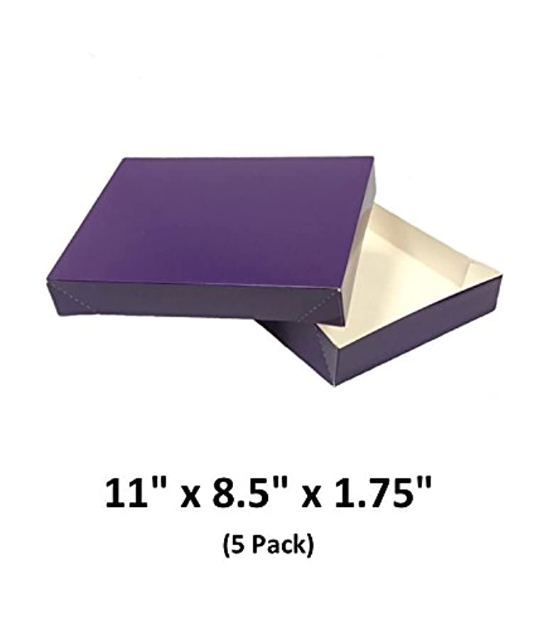 Grape Apparel Decorative Gift Boxes with Lids for Clothing and Gifts 11x8.5x1.75 (5 Pack) | MagicWater Supply