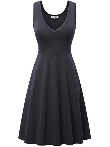 HUHOT Women's Casual Dresses Black Dress for Women Cotton Dress for Women Casual Sleeveless V Neck Dress with Pocket Summer Beach Midi Flared Tank Sundress