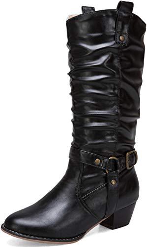 Solshine Damen Langschaft Stiefel mit Blockabsatz Falten Warm Gefüttert Cowboy Boots Schlupfstiefel Schwarz 41EU