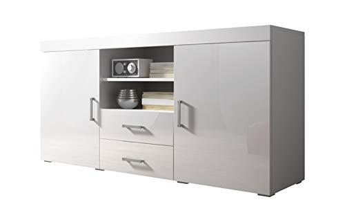 E-com Commode Mambo 164 cm, 2 Portes, 2 tiroirs, Corps, Blanc/Mat/façade Brillant