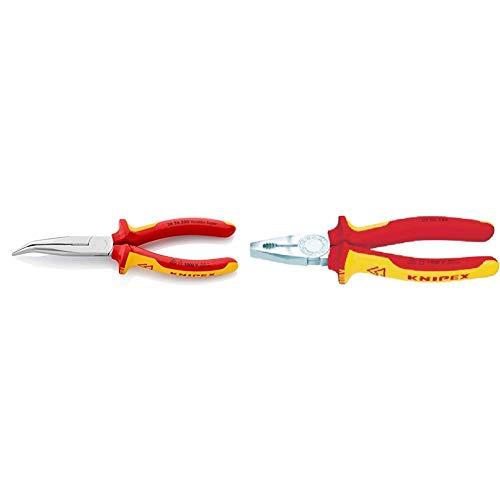 Knipex 26 26 200 – Flachrundzange mit Schneide, VDE-geprüft & 03 06 200 Kombizange verchromt isoliert mit Mehrkomponenten-Hüllen, VDE-geprüft 200 mm