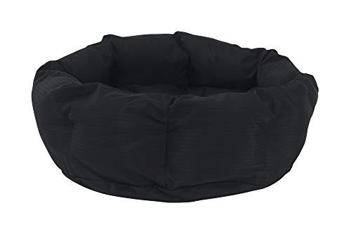 "K9 Ballistics Round Dog Bed Deep Den, Bagel, Donut, and Deep Dish Style for Cuddler, Machine Washable (Black Small 24"" x 20"" x 8"")"