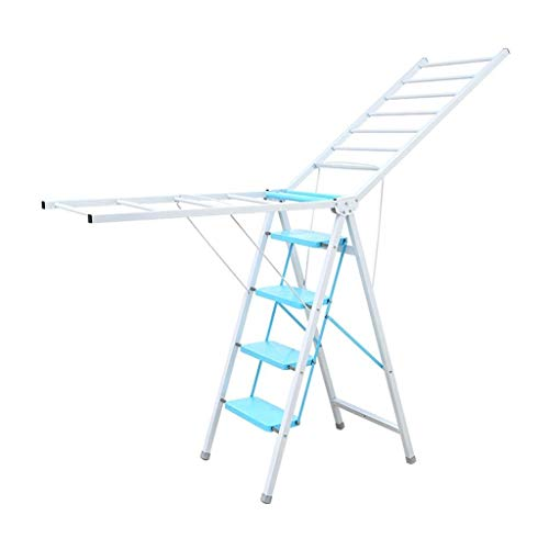 Home Equipment Multi function Aluminum Ladder Drying Rack Dual use Floor Folding Indoor Balcony Wing Type Drying Ladder One Ladder Two (Color: Yellow Pink Blue Size: 4/5 Steps) (Color : A five step