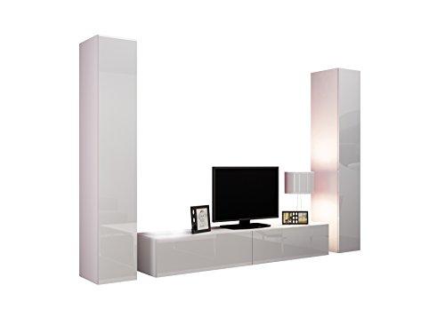 Wohnwand VIGO IV Anbauwand Modernes Wohnzimmer Set, Mediawand, Hängeschrank Vitrine, TV-Schrank (Weiß/Weiß Hochglanz)