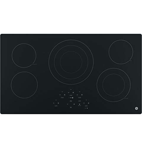 GE 36-Inch Smooth Top Electric Cooktop | 5 Radiant Elements, Center Tri-Ring Burner, Digital Touch Controls | JP5036DJBB model