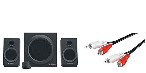 Logitech Z333 Multimedia Speakers - Lautsprecher für Home Entertainment (mit 80Watt und Subwoofer) schwarz & mumbi 3,5mm Klinke Stecker auf 2 Stereo-Cinch Chinch / 1,5m Kabel