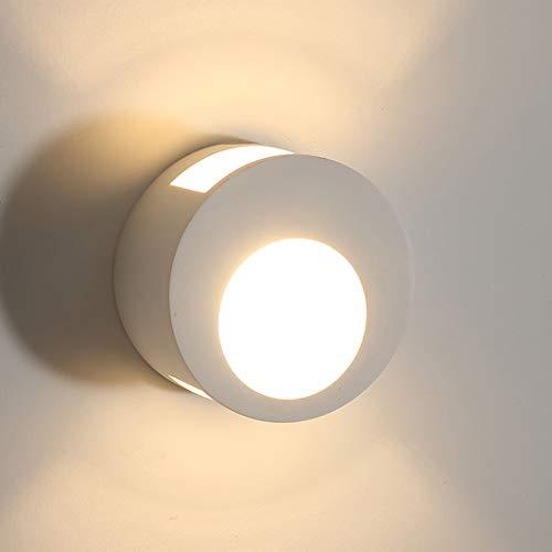 VOMI Blanco Apliques de Pared Interior Moderna, Lámpara de Pared de Ronda 7W, Luz de Pared de Iluminación para Dormitorio Sala Corredor Pasillo áTico Cocina, Blanco Cálido