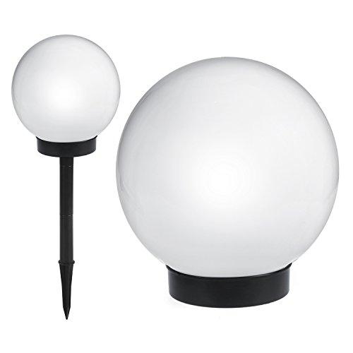 Lámpara solar de jardín de pie forma esférica de color blanco LED GB123