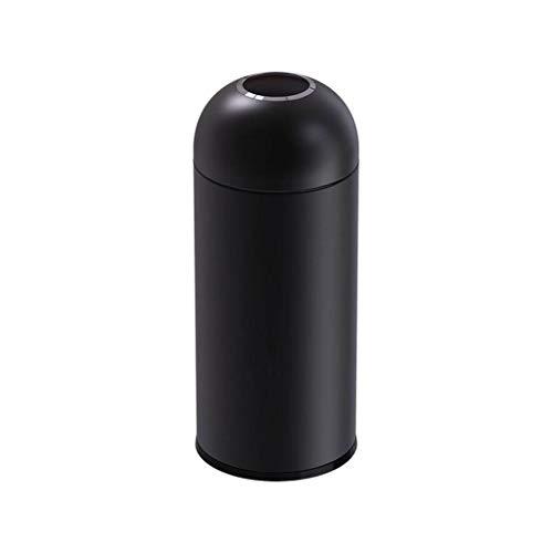 Papelera de basura comercial con cubo interior extraíble de acero inoxidable redondo cubo de basura al aire libre hotel tienda centro comercial cubo de basura cubo (color: pintura negra)