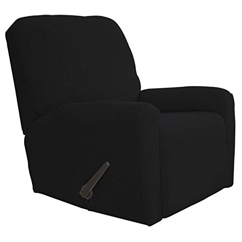 Greatime Recliner Stretch Sofa Slipcover Sofa Cover 4-Pieces Furniture Protector Couch Soft with Elastic Bottom Kids, Spandex Jacquard Fabric Small Checks(Recliner,Black)