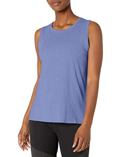 Core 10 Soft Pima Cotton Stretch Full Coverage Sleeveless Tank Yoga Shirt, Hellblau Gebleicht, XS