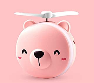J&X Espejo De Belleza Guarro Pequeño Ventilador Mini Iluminado Estudiante De Dibujos Animados Lindo Portátil De Carga Espejo Pequeño Portátil 8.5cm * 3.5cm * 10cm / Oso Rosa