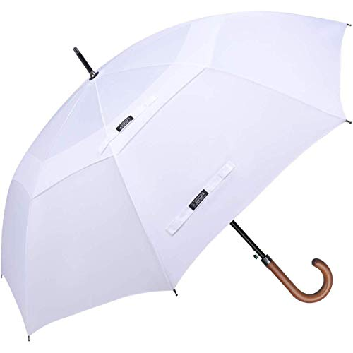 G4Free 50/62 inch automatische open klassieke paraplu dubbele luifel geventileerde winddichte grote stok paraplu's met houten krukgreep
