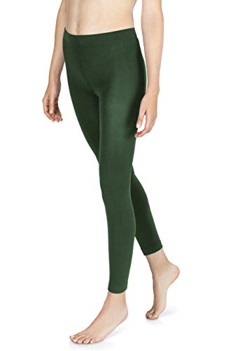 sockenkauf24 Damen THERMO Leggings mit Innenfleece in 10 Farben extra warm Winter Leggings (38/40, Dunkelgrün)
