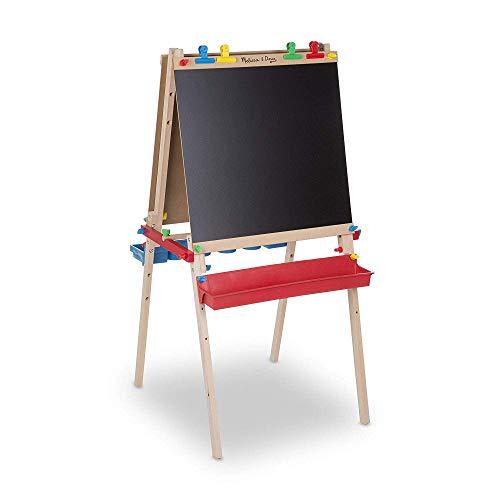 """Melissa & Doug Deluxe Standing Art Easel - Dry-Erase Board, Chalkboard, Paper Roller Multi, 47"""" H x 27"""" W x 26"""" L"""