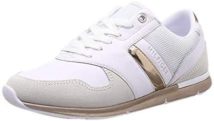 Tommy Hilfiger Iridescent Light Sneaker, Zapatillas Mujer, Blanco (White/Rosegold 901), 37 EU