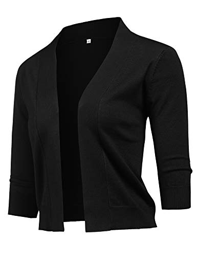 URRU Women's Classic 3/4 Sleeve Bolero Shrug Knit Cropped Knitwear Cardigan Sweater Shrug Bolero Jackets Black XL