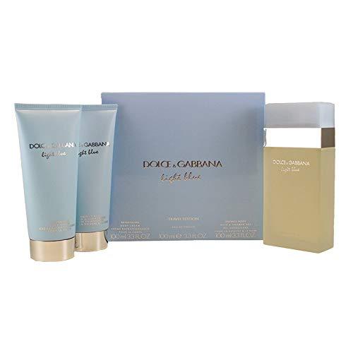 Dolce & Gabbana Light Blue femme / women, Geschenkset, 3er Pack ((100ml EDT, 100ml Refreshing Body Cream, 100ml Energy Body Bath & Shower Gel))