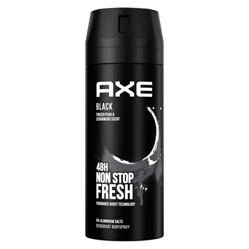 Axe Déodorant Homme Black, Sans Sels dAluminium, Pour Sentir Bon Toute la Journée, Contre les Mauvaises Odeurs, Fraîcheur 48h, Spray 150ml
