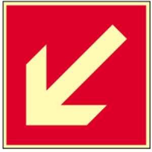 Richtingaanduiding schuin HIGHLIGHT PVC 20 x 20 cm Dit bord mag alleen worden gebruikt in combinatie met een ander brandbeveiligingsteken! volgens ASR A 1.3/BGV A8/DIN 4844