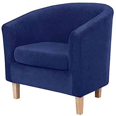 hyha 2 Pieces Velvet Tub Chair Covers with Cushion Cover, Removable Stretch Club Chair Slipcover for IKEA Tullsta, Armchair Furniture Protector for Living Room, Navy