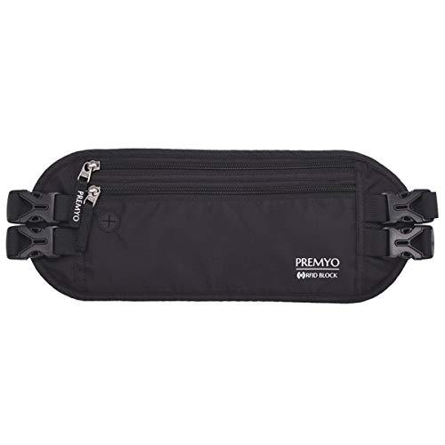 PREMYO XL Riñonera Interior Cinturón de Viaje 2 Correas Bloqueo RFID Antirrobo Oculto Fino Cómodo Impermeable para Dinero Pasaporte Deportes Negro