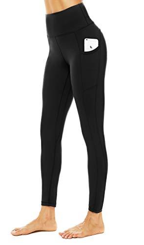 JOYSPELS Leggings Damen, Lange Sporthose damen mit Taschen Blickdicht Sport leggings Sportleggins Damen Lang, Schwarz, L
