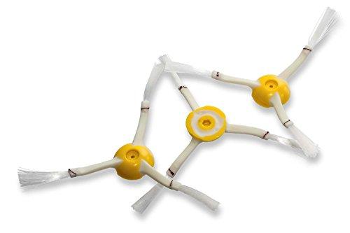 vhbw 3X Ersatz Seitenbürste passend für iRobot Roomba 866, 886, 900, 980 Saugroboter - Reinigungsbürsten Set, weiß/gelb